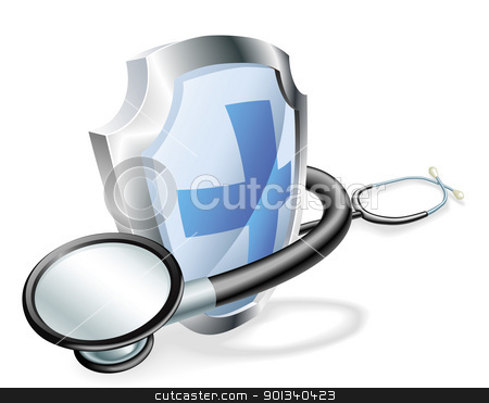 Shield stethoscope medical concept stock vector clipart, Shield with stethoscope wrapped round it medical healthcare concept by Christos Georghiou