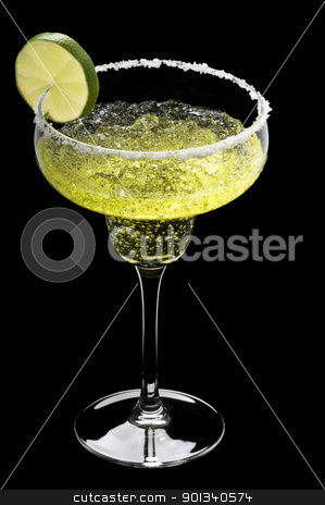 Classic Margarita in front of a black background  stock photo, Classic Margarita in front of a black background with fresh garnish by Ulrich Schade