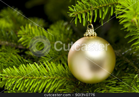Ball shape Christmas tree decoration stock photo, Ball shape Christmas decoration in real tree by Ulrich Schade