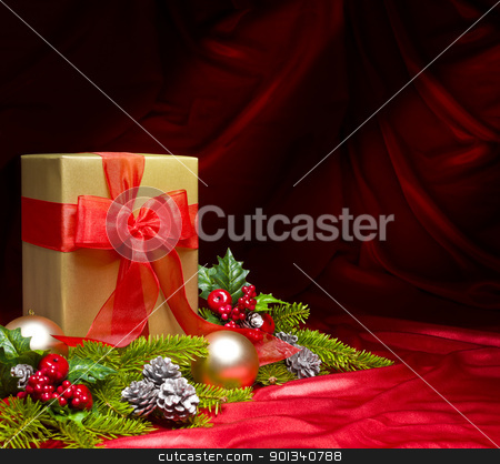 Present decorated with Christmas decoration stock photo, Present decorated with Christmas decoration by Ulrich Schade