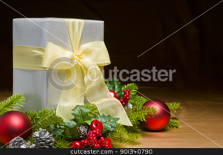 Present decorated with Christmas decoration stock photo, Present decorated with Christmas decoration, with space for advertising text by Ulrich Schade