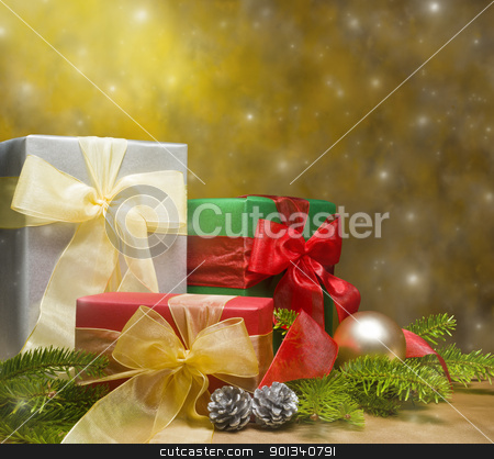Presents decorated with Christmas decoration stock photo, Presents decorated with Christmas decoration, with space for advertising text by Ulrich Schade