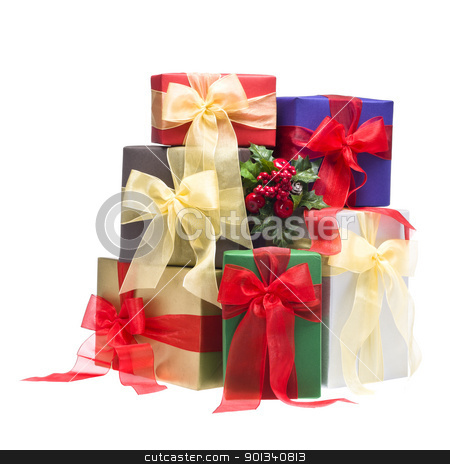 Colorful presents in a studio setting stock photo, Colorful presents in a studio setting, over white by Ulrich Schade