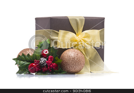 Present decorated with Christmas decoration stock photo, Present decorated with Christmas decoration, over white by Ulrich Schade