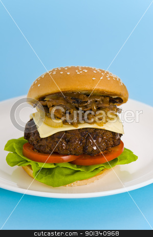 Hamburger with cheese tomato and salad stock photo, Hamburger with cheese, tomato, salad and no onion by Ulrich Schade