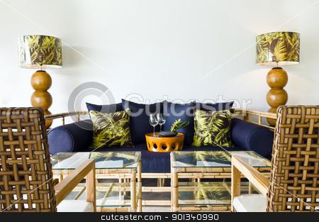 Contemporary sofa bamboo seating area stock photo, Contemporary sofa rattan bamboo seating area beautiful interior design by Ulrich Schade