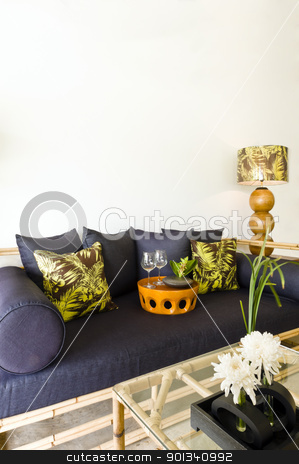 Contemporary sofa bamboo seating area stock photo, Contemporary sofa rattan bamboo seating area beautiful interior design by Ulrich Schade