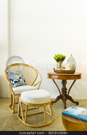 Table chair combination bamboo rattan seating area  stock photo, Table chair combination bamboo rattan seating area beautiful interior design by Ulrich Schade