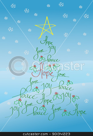 Christmas card or background stock photo, Christmas card or background, tree with yellow star and holly bush leves by Ulrich Schade