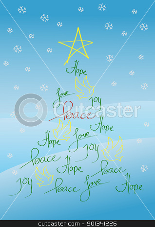 Christmas card or background stock photo, Christmas card or background, tree with yellow star and yellow birds by Ulrich Schade