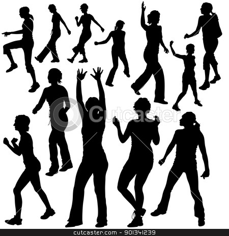 Dance Silhouettes stock photo, Dance Silhouettes - black illustrations and modern dance by derocz