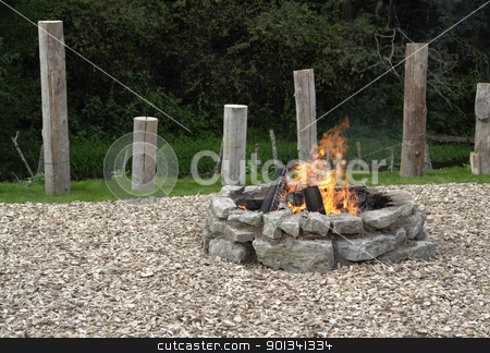 fireplace with fire stock photo, outdoor fireplace with burning fire by prill