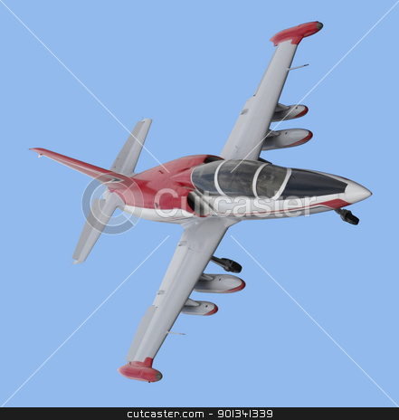 aircraft from above stock photo, dynamic shot of a aircraft in blue back by prill