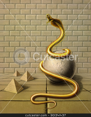 golden snake in surreal ambiance stock photo, Picture painted by me, named Occupancy, it shows a golden snake wound around a globe made of stone in surreal ambiance with stone tiles, stone wall and pyramids by prill