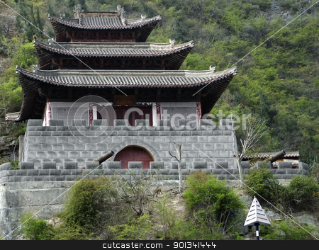 historic fortified building stock photo, historic fortified building near Yangtze River in China by prill