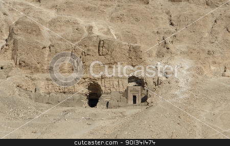 rock cut tombs in Egypt stock photo, rock cut tombs near the Mortuary Temple of Hatshepsut in Egypt by prill