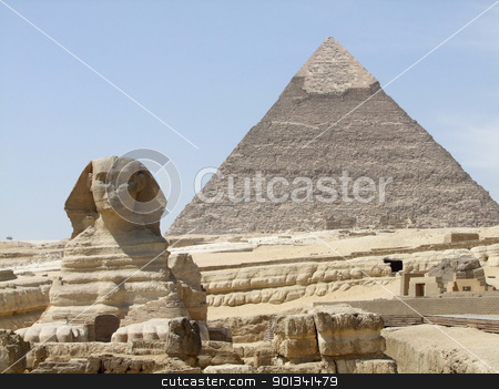 Sphinx and Pyramid of Khafre stock photo, sunny illuminated scenery around Giza Necropolis in Egypt including the Sphinx in ftont of the Pyramid of Khafre by prill