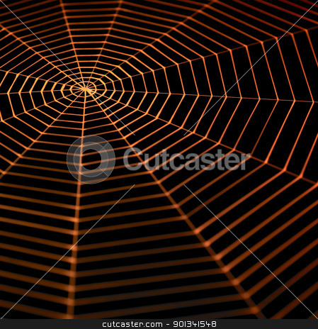 painted spiderweb stock photo, full frame symbolic picture with a painted spiderweb in dark back, orange illuminated by prill
