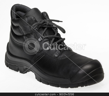 black lace-up shoe stock photo, black lace-up shoe made of leather in white back by prill