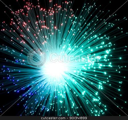 plastic optical fibers stock photo, colorful illuminated plastic optical fibers in dark back by prill