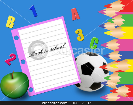back to school stock vector clipart, Abstract colorful illustration with green apple, football ball,pencils and a paper on which is written back to school by radubalint