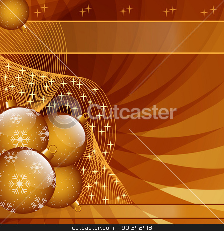 Gold christmas balls abstract stock vector clipart, Gold Christmas balls on abstract wispy background decorated with stars and snowflakes. Copy space for text. by toots77