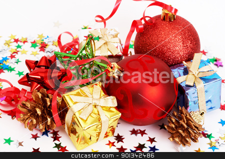 Red Christmas baubles and other decorations stock photo, Red Christmas baubles and other decorations on white background  by Elena Weber (nee Talberg)