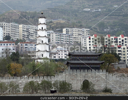 Fengdu County in China stock photo, traditional buildings in front of a historic district named Fengdu County in China by prill