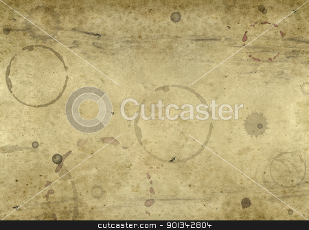 old blotched paper background stock photo, abstract full frame background showing a piece of old brown paper with lots of blots and spots by prill