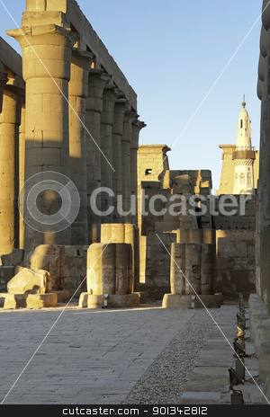Luxor Temple in Egypt stock photo, architectural detail of the ancient Luxor Temple in Egypt (Africa) at evening time by prill