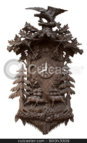 traditional wooden cuckoo clock stock photo, a rich decorated traditional Black Forest cuckoo clock in white back by prill
