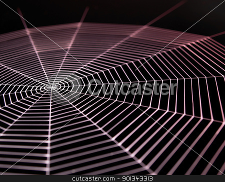painted cobweb stock photo, detail  of a white painted spiderweb in dark back, red illuminated by prill