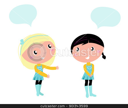 Two cute school girls talking about something stock vector clipart, Little girls isolated on white background  by BEEANDGLOW