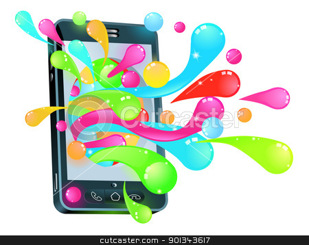 Cell phone jelly bubble concept stock vector clipart, Mobile phone smartphone with jelly bubbles coming out of it  by Christos Georghiou