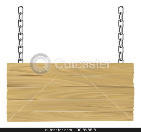 Wooden sign on chains illustration stock vector clipart, Illustration of an old wooden sign suspended on chains by Christos Georghiou