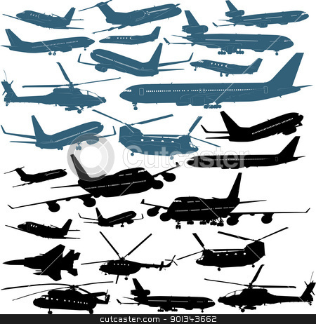 Airplanes stock vector clipart, Vector illustrations of passenger airliners, millitary chopters by Ints Vikmanis