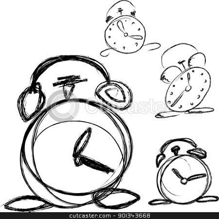 Alarm clock stock vector clipart, Hand drawn vector alarm clock by Ints Vikmanis