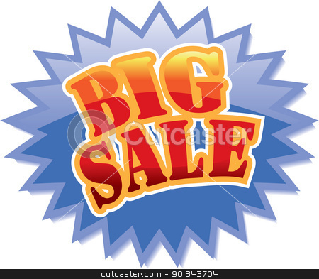 Big Sale label stock vector clipart, Blue star with red Big Sale text. Vector illustration by Ints Vikmanis