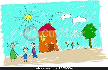 Happy family stock vector clipart, Vector illustration of childlike drawing of happy family in front of their home. by Ints Vikmanis