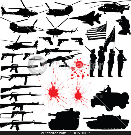Military silhouettes stock vector clipart, Set of various military related vector silhouettes by Ints Vikmanis