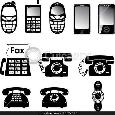 Phones stock vector clipart, Collection of vector old and new phone icons by Ints Vikmanis