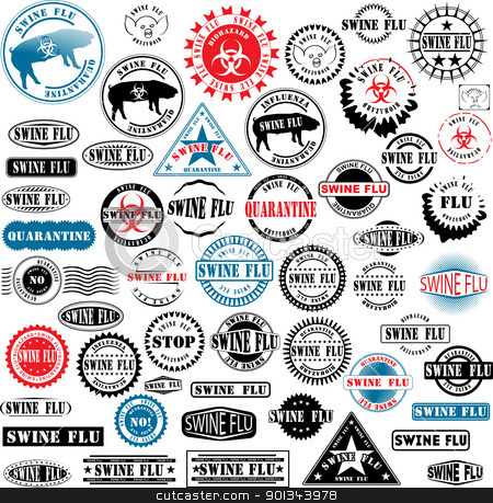 Ruber stamps Swine Flu stock vector clipart, Collection of rubber stamps about swine flu. See other rubber stamp collections in my portfolio. by Ints Vikmanis