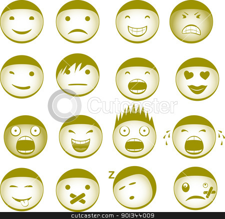 Emoticons stock vector clipart, Collection of vector smilies with different expressions by Ints Vikmanis