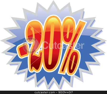 20% discount label stock vector clipart, Blue discount label with red -20%. Vector illustration by Ints Vikmanis
