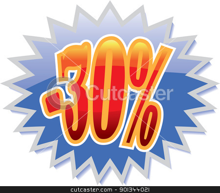 30% discount label stock vector clipart, Blue discount label with red -25%. Vector illustration by Ints Vikmanis