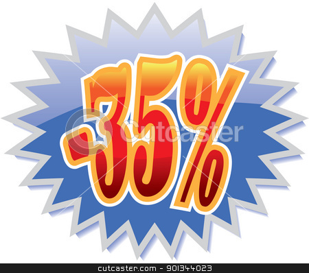 35% discount label stock vector clipart, Blue discount label with red -35%. Vector illustration by Ints Vikmanis