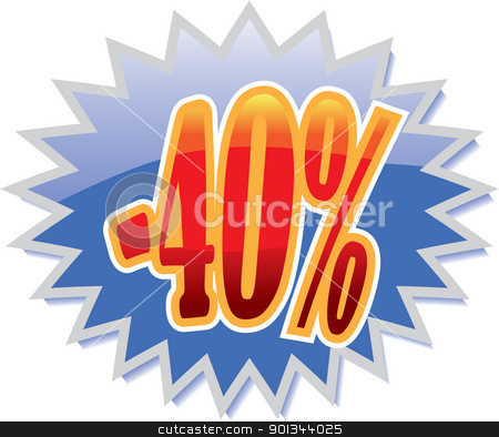 40% discount label stock vector clipart, Blue discount label with red -40%. Vector illustration by Ints Vikmanis