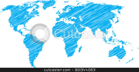 World map sketch stock vector clipart, Blue vector scribble sketch of world map by Ints Vikmanis