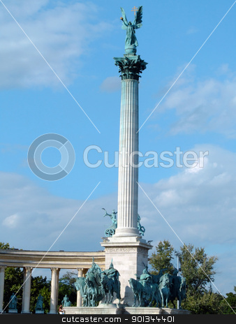 Heroes Square stock photo, The 40 metres high column and the equestrian statues of the Millennium Monument in Heroes Square, Budapest by Massimiliano Pieraccini