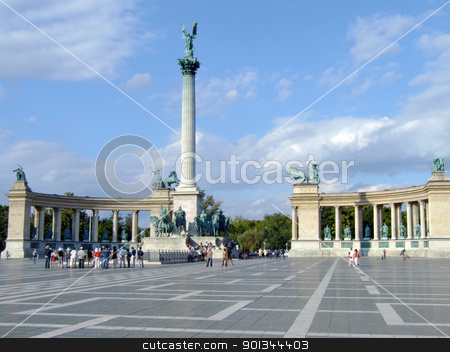 General view of Heroes Square stock photo, The Millennium Monument in Heroes Square, Budapest by Massimiliano Pieraccini
